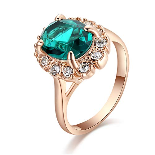 Yoursfs Engagement Zirconia Rings for Women 4 Claw Delicate Green Stone Wedding Ring 18ct Rose Gold Plated