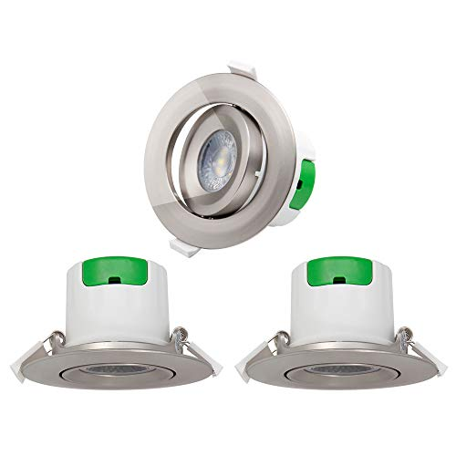 Lampes Plafonnier Spots a Encastrer LED Encastrable Plafond Orientable LED Plastique Nickelé 7W Blanc Froid 5000K Trou de Plafond Diamètre 70-75MM AC100~240V Lot de 3 de Enuotek