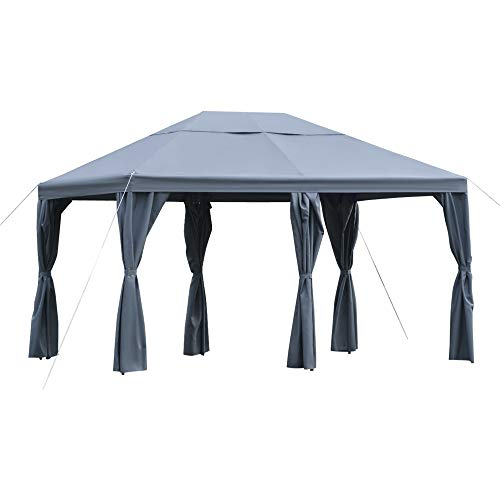 Outsunny Cenador 4x3 m Carpa con 6 Cortinas de Cremallera Techo Ventilación 8 Orificios de Drenaje para Fiesta Reuniones al Aire Libre Gris