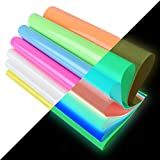 Heat Transfer Vinyl,Glow in Dark Iron on Vinyl 10 Pack 12'x 10' PU HTV Luminous Fluorescent Color...