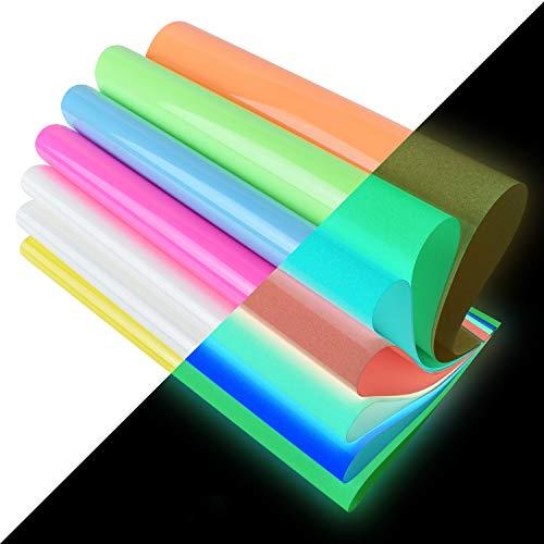 "Heat Transfer Vinyl,Glow in Dark Iron on Vinyl 10 Pack 12""x 10"" PU HTV Luminous Fluorescent Color for Shirts(Glow in Dark)"