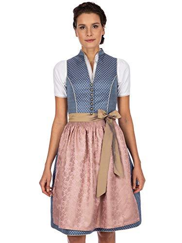 Stockerpoint Damen Dirndl Melinda Kleid für besondere Anlässe, blau-Taupe, 34