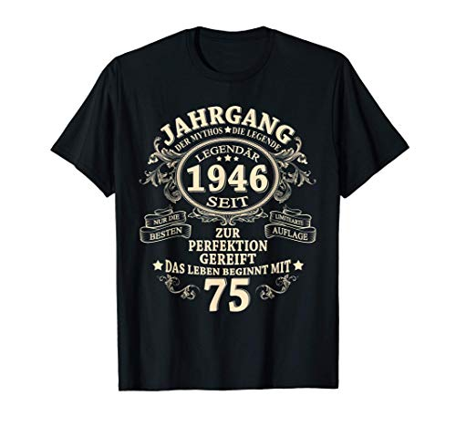 75. Geburtstag Geschenk Mann Mythos Legend Jahrgang 1946 T-Shirt