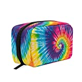Rainbow Tie Dye Makeup Bag Cosmetic Bag Toiletry Travel Bag Case for Women, Blue Red Yellow Portable Pencil Pen Organizer Storage Pouch Bags Box