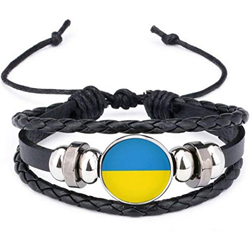 NaisiCore Cuero Trenzado, Banderas de la Bandera Nacional de Ucrania Encanto de la Pulsera de los brazaletes de fútbol del Equipo Muñequera Mano Pulsera Banda de Sistema de la joyería