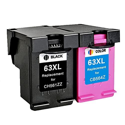 AZXC Reemplazo de Cartucho de Tinta Compatible para HP 63XL Trabajo para 2130 3630 3830 4520 4650 3632 Impresora, Toner Trabajo de Alto Rendimiento con Chip Black+Color