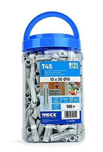 Index Fixing Systems TN4S06EP Taco de Nylon de 4 Segmentos para Todo Tipo de Materiales, 0 W, 0 V, Gris, 6 x 30 mm, Set de 1000 Piezas