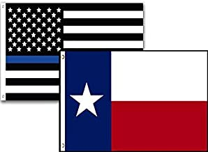 ALBATROS 3 ft x 5 ft USA Police Blue Texas State 2 Pack Flag Set Combo for Home and Parades, Official Party, All Weather Indoors Outdoors