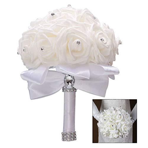 XLKJ Bouquet Nupcial de Novia de la Boda, Ramo de la Boda Ramos de Estilo Coreano Falsas Flores Artificiales Rosadas de la Boda
