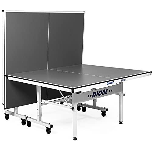Dione Mesa de tenis de mesa interior S400i deporte escolar compacto tamaño completo plegable Ping Pong fácil asamblea gris 70KG