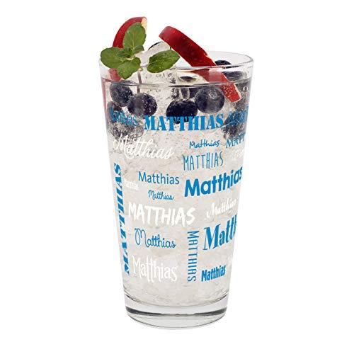 Herz & Heim® Trinkglas mit Namen in verschiedenen Schriftarten und Farben Blau-Weiß