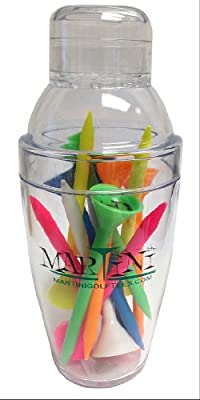 """ProActive Sports Martini Golf Mini Shaker with 3-1/4"""" Durable Plastic Tees 12-Pack of Assorted Colors"""