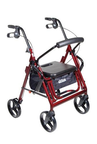 Drive Medical Duet Transport Wheelchair Rollator Walker, Burgundy