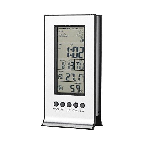 温度計湿度計 Acouto デジタル LCDスクリーン 屋内 天気予報時計 12/24時間 アラーム&スヌーズ機能付き 目覚まし時計 デジタルサーモ湿度計