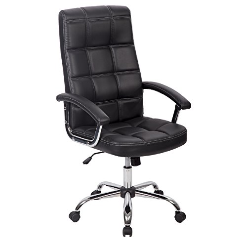 BestOffice Home Office Desk Ergonomic Compute Executive Modern Tall Student Task Adjustable Swivel High Back Wide Comfortable Leather Metal Chairs with Arms Lumbar Support for Man Women, Black