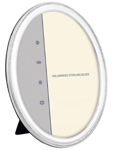 En argent sterling (925) Cadre photo ovale décoré avec perles – Le cadeau idéal pour toutes les occasions. Présenté dans une boîte Bleu Classique., 8.8 x 6.2 cm