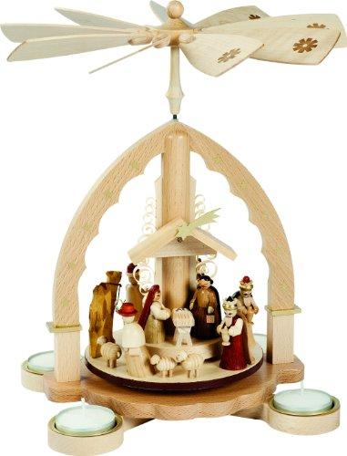 Pyramide de Noël scène de la Nativité, hauteur 27 cm, naturel avec lumières de thé, Erzgebirge originale de Richard Glaesser