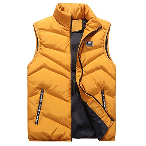 WUAI-Men Down Vest Thicken Classic Sleeveless Stand Collar Outdoor Side Pockets Padded Quilted Puffer Jackets Outwear(Yellow,XX-Large)