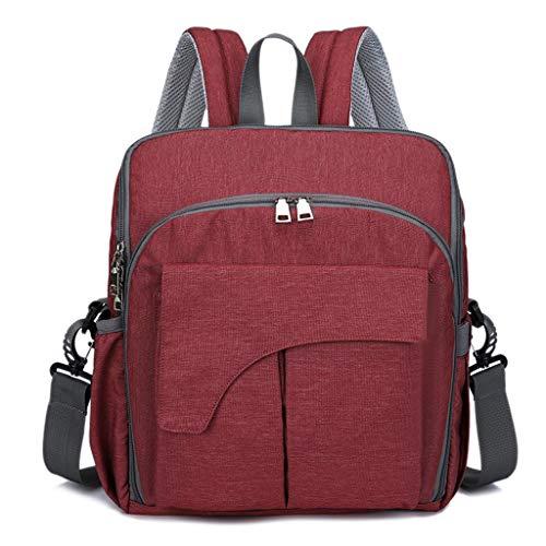 Wikkeltas grijze luiertas rugzak met USB-oplaadaansluiting schouder draagbare schoudertas dubbele rug moer en babytas 28 * 12 * 36CM rood