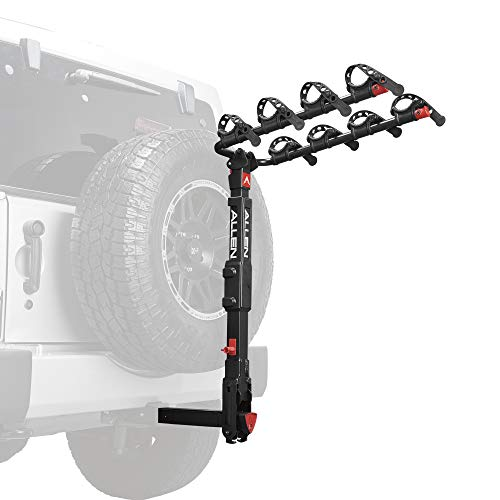 Allen Sports Premier Locking Quick Release 4-Bike Carrier for 2 Inch Hitch on Vehicles with Spare Tire, Model 400QR, Black