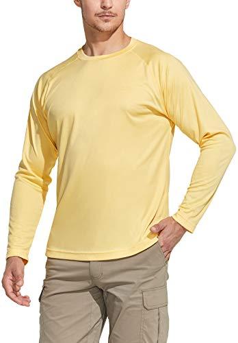 CQR Herren UPF 50+ Outdoor-T-Shirts, UV-Sonnenschutz lässiges Wasser-T-Shirts, Laufen Trainings-Hemd, Tol003 1pack - Butter, L