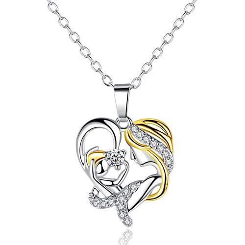 Collar con colgante de corazón para madre e hija, regalo para el día de la madre, hijo, joyería de diamantes para abuela, esposa, cumpleaños, día de San Valentín, collar