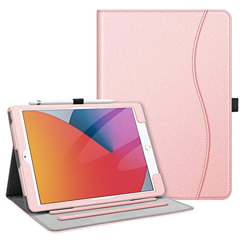 FINTIE Case for New iPad 10.2' 8th Gen 2020 / iPad 7th Gen 2019 - [Corner Protection] Multi-Angle Viewing Folio Smart Stand Back Cover with Pocket & Pencil Holder, Auto Wake/Sleep, Rose Gold