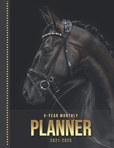 5-Year Monthly Planner: Black Stallion Horse Art Photo / Dated 8.5x11 Calendar Book With Whole Month on Two Pages / Organizer Has Note Paper - To Do ... / 2021 2022 2023 2024 2025 - 60 Month Total