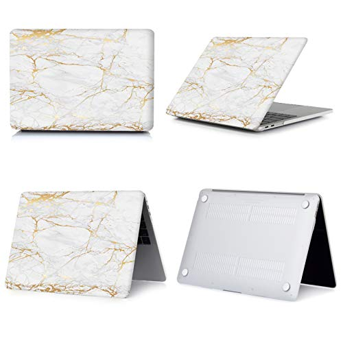 New Marble Laptop Case for Macbook Touch ID Air 13 case A1932 Pro 12 16 15 11 inch shell For Macbook Pro 13 case +Keyboard Cover-010-A2159 A1706 A1989