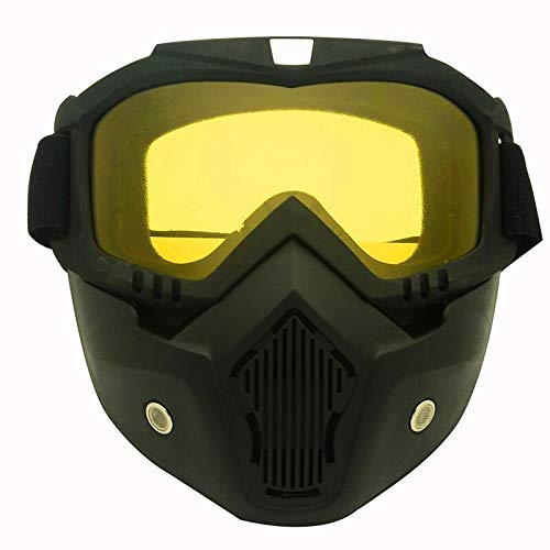 KENGEL Skiing, Snowmobiling, Motorcycle Helmet Riding Goggles Glasses with Removable mask, Detachable Anti-Fog Warm Goggles Oral Filter Adjustable Anti-Skid Belt (Yellow)