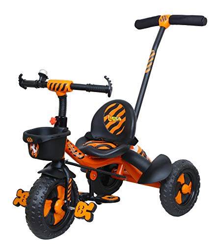 Luusa RX-500 Plug N Play Kids / Baby Tricycle with Parental Control , Cushion seat and seat Belt for 12 Months to 48 Months Boys / Girls / . Carrying Capacity Upto 30kgs ( Orange )