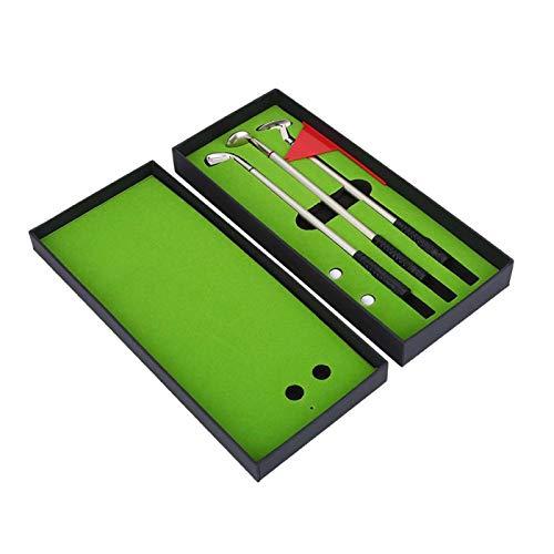 Juego de regalo de bolígrafo de golf, novedad Mini palo de golf Putter Bolígrafo Juego de caja de regalo de golfistas Decoración de escritorio Modelo de golf Bolígrafos de club para útiles escolares A