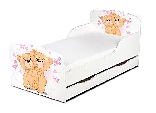 Leomark Letto per bambini in legno, cassetto e materasso, rete a doghe, mobili per bambino, magnifiche stampe, dimensioni del materasso 140 x 70 cm, colore bianco con motivo: ORSACCHIOTTI