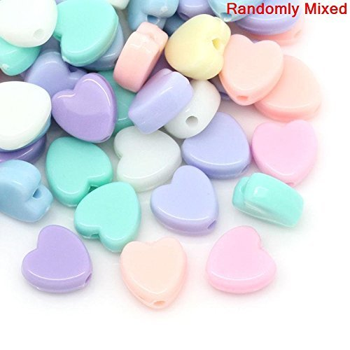 600 Pastel Acrylic Heart Beads Assorted Pastel Colors 8mm or 3/8 Inch Diameter with 1.5mm Hole