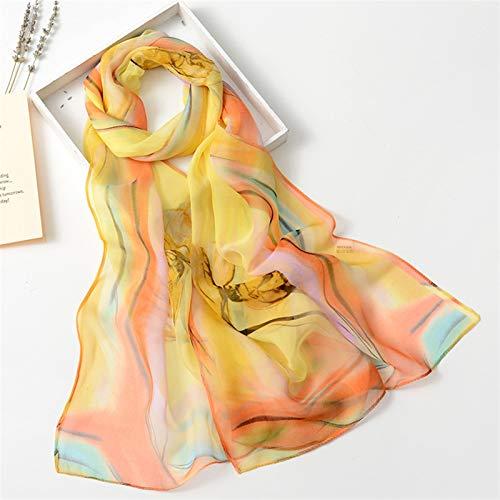 Bufanda Impresión de la Flor Colorida Bufanda de Seda de Mujer Pañuelos de Gasa Fina Hijab Moda Floral del tulipán mantón Georgette Bufanda Pañuelo Seda (Color : 4)