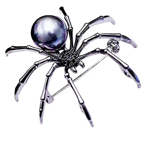 Elevin(TM) Mother of Pearl Body and Pave Spider Brooches Pins Silver Tone