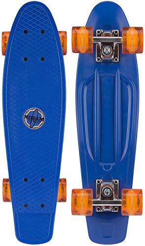 Nijdam Kids '52 nd LED wielen plastic skateboard 57,1 cm kobalt blauw/oranje, one size
