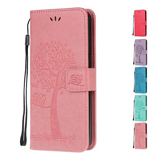 Leather Wallet Phone Case for Apple iPhone 6S 6 Flip Cover with Owl Life Tree Pattern Design Card Holder Slot Silicone Protective for Girls Boys - Pink Owl