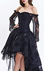 EUDOLAH Women's Gothic Steampunk Steel Boned Corset Dress Skirt Set Costume (UK 14-16 (2XL), Black) #5
