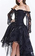 EUDOLAH Women's Gothic Steampunk Steel Boned Corset Dress Skirt Set Costume (UK 14-16 (2XL), Black) #5