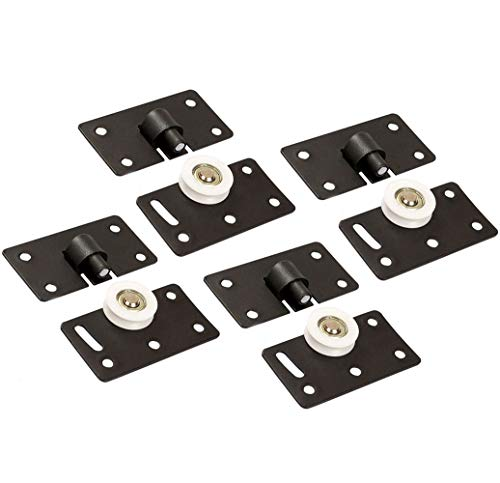 Schiebetür Rolle, Tiberham 30mm Dia Nylon Roller Rad, Heavy Duty Tür Läufer Gear Track Panel Kits für Möbel Kleiderschrank Schrank (4 Paare)