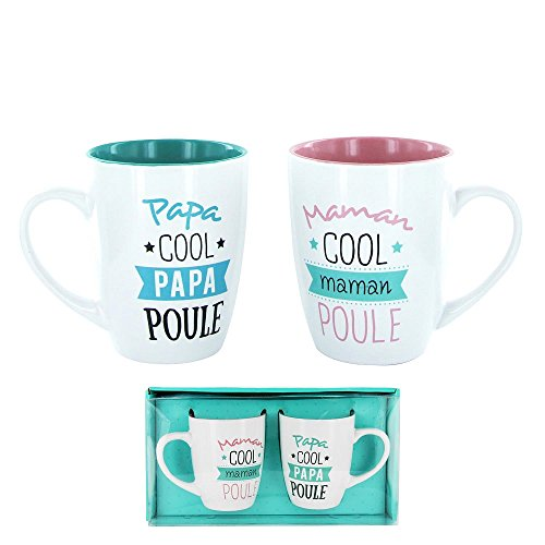 Générique 627 - Set di 2 tazze per papà e mamma a gallina, idea regalo per festa di compleanno