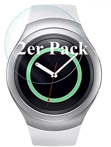 [2er Pack] Panzerglas für Samsung Gear S2 Classic oder Gear S2 Sport (SM-R600) für das 1,2 Zoll Display gehärtetes Glas 9H, Echtglas Glasfolie Panzerfolie Glas Folie Displayschutz Schutzfolie