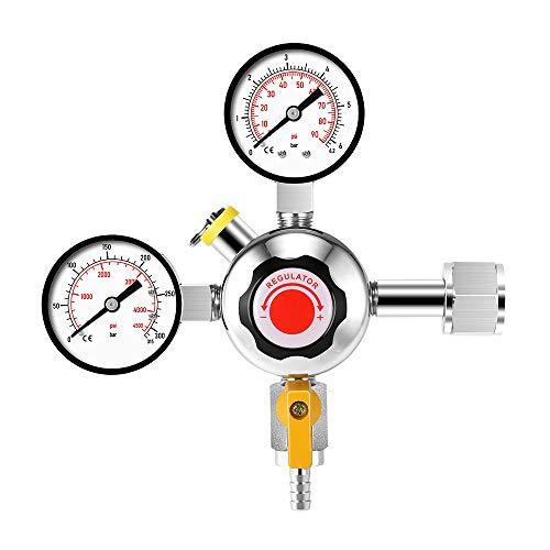 Regulador de Presión de Co2 con Doble Calibre,Vogvigo Regulador de Presión de Gas de Cerveza Regulador de Presión de Gas de Cerveza Regulador de Presión de Co2 Utiliza Interfaz W21.8