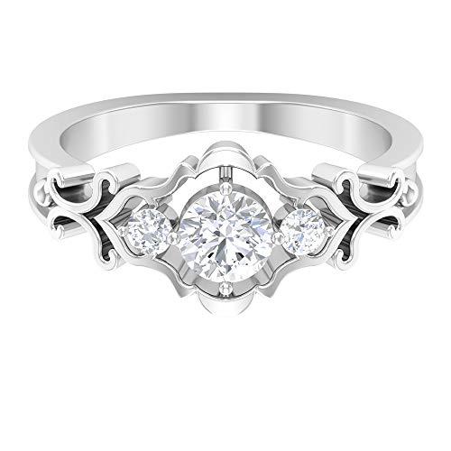 ¿Joyas Rosec? Anillo de compromiso de filigrana con diamante HI-SI 0,63 quilates, anillo de tres piedras, 14K Oro