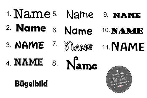 Bügelbild Wunsch Name Text in Flex, Glitzer, Flock, Effekt in Wunschgröße