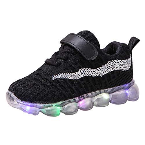 Deloito Kinderschuhe Jungen Freizeit Pailletten Fliegen Gewebe Mesh Sneaker Mädchen LED-Beleuchtung Sportschuhe Komfort Beleuchtung Laufschuhe (Schwarz,22.5 EU)