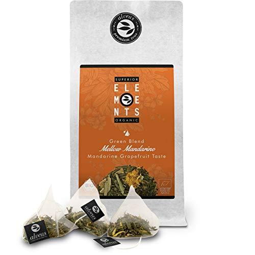 alveus® Superior Organic Elements (Mellow Mandarine, Té Verde Orgánico, sabor Mandarina y Pomelo, Bolsa con 15 Bolsitas Piramidales)