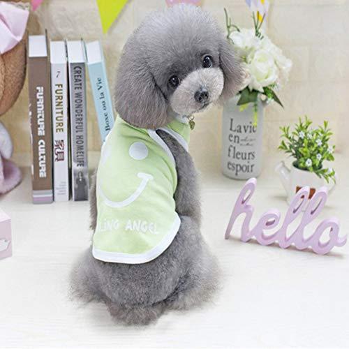 Uniquelove New Smile Vest Ropa para Perros Teddy VIP Puppies Disfraz Lindo Transpirable - Verde XL