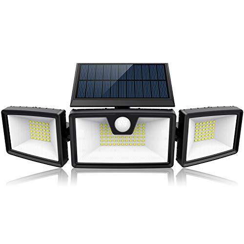 【2020最新版】 ソーラーライト 屋外、 132 LED センサーライト 3面発光 高輝度 2000ルーメン 3灯式 360°角度調整可能 IP65防水 自動点灯消灯 光感人感センサー (1個セット)